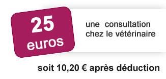 25 euros une consultation chez le vétérinaire soit 10 euros 20 après déduction