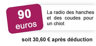 90 euros la radio des hanches et des coudes pour un chiot soit 30 euros 60 après déduction