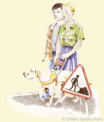 Alice est guidée par Falsh sous le regard attentif de Michel, ils contournent un panneau de chantier sur un trottoir